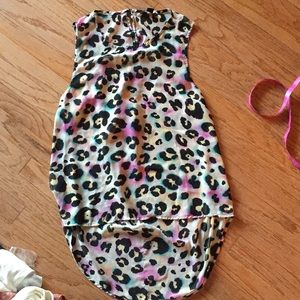 Forever 21 colorful leopard Hi low tank. S
